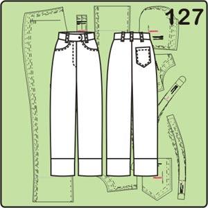 Выкройка джинсов с широкими манжетами