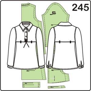выкройка блузки в стиле ампир с длинными рукавами
