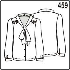 выкройка блузки с бантом и длинными рукавами