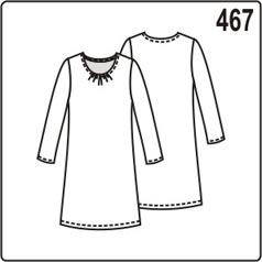 выкройка платья с длинными рукавами и складками на горловине переда