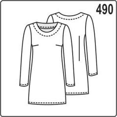 Выкройка платья с длинными рукавами и обтачкой горловины