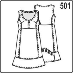 Выкройка трикотажного платья с воланами по низу