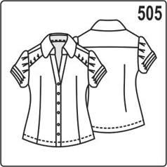 выкройка летней блузки с короткими рукавами фнариками, воротником со стойкой, кокетками и защипами