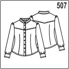 Выкройка в натуральную величину: блузка, рукав фонарик, размер 46, 48