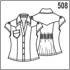 выкройка блузки с рукавами крылышками, воротником со стойкой, накладным карманом, размер 44, 46