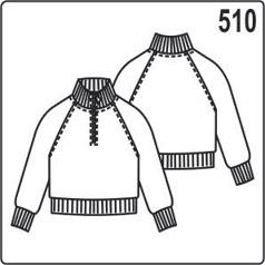 выкройка кофты с рукавом реглан, из трикотажа или флиса, для детей от 7 до 10 лет