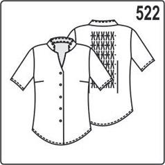 Выкройка летней блузки с коротким рукавом и воротником стойкой