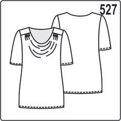 Выкройка блузки с коротким рукавом и вырезом качели