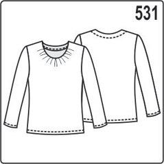 Выкройка блузки в натуральную величину (джемпера) из трикотажа с сборками на горловине