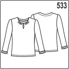 Выкройка блузки с длинными рукавами, сборкой и вырезом на горловине