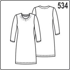 Выкройка платья с длинными рукавами, сборкой на горловине и карманами в боковых швах