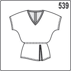 Выкройка туники с цельнокроеным рукавом, V-образной горловиной и разрезом на переде