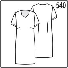 Выкройка платья с коротким рукавом и вырезом горловины в виде трапеции