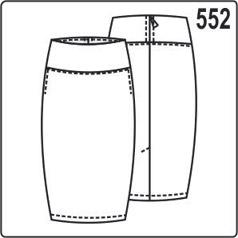 Выкройка юбки-карандаш с широким поясом, застёжкой на молнию сзади, боковыми карманами в швах, шлицей на заднем полотнище