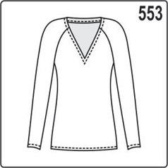 Выкройка трикотажной блузки с длинными рукавами реглан