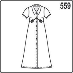 выкройка летнего женского платья с завышенной линией талии, короткими рукавами, воротником, пуговицами