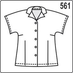 выкройка женской летней блузки с короткими цельнокроеными рукавами и подбортами